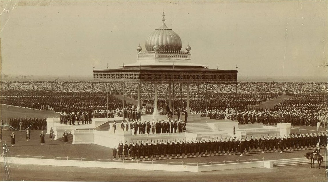 The Delhi Durbar, 12 December 1911, to mark the succession of King George V and Queen Mary as Emperor and Empress of India.